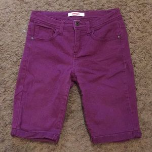 Bongo Purple Bermuda Jean Shorts Pockets